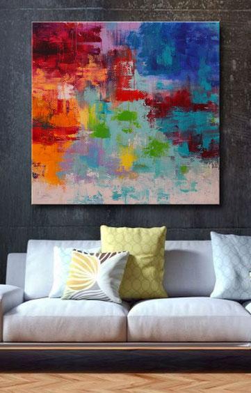 abstraktes, modernes Acrylgemälde in Rot, Weiß, Orange, Blau und Schwarz