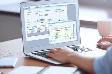 Ansicht der Softwarelösung auf dem Bildschirm