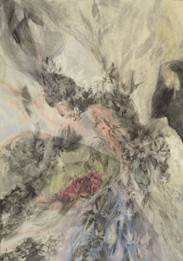 Transfigure, 2017. Houtskool en pastelkrijt op papier, 100x70cm.