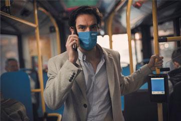 Medizinische Maske modern mit Zertifizierung Viroblock® Mundschutzmaske mit eigenem Logo oder Design von Feld Textil GmbH - https://www.krawatten-tuecher-schals-werbetextilien.de/