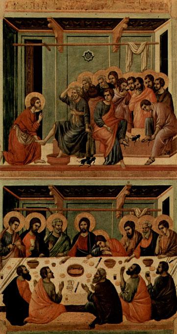 Fußwaschung und Abendmahl, Sieneser Dom, (c) gemeinfrei