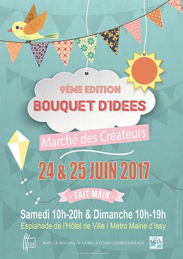 Une Embellie expose au marché des créateurs d'Issy les Moulineaux samedi 24 juin et Dimanche 25 juin 2017