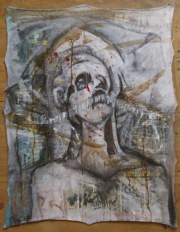 Collage et acrylique sur toile 76 x 60