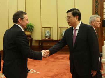 rencontre avec le n°3 du régime chinois, Président de l'assemblée nationale populaire de la république populaire de Chine, M.Zhang Dejiang