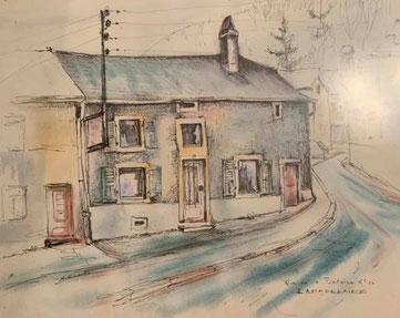 Bourgaass  (rue de la Fontaine) mit dem Haus in dem mal der Schuster  Manderscheid Rudy und seine Ehefrau Jacqueline gewohnt haben.