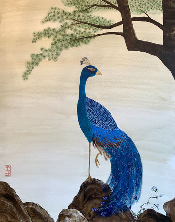 Japanese Nihonga painting showing a peacock standing on a rock with pine tree in the back traditional Asian art painting with delicious and delicate details art for your home art for sale