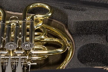 special foam to protect the French horn in the case