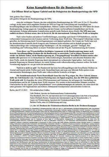 PDF-Download - Offener Brief: Keine Kampfdrohnen für die Bundeswehr! Berlin, den 07.12.2015