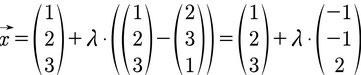 Beispiel für das Bestimmen der Geradengleichung mithilfe von zwei Punkten im 3D Raum