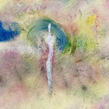 Presenza e incanto, 2018, tecnica mista, 11 x 11 cm