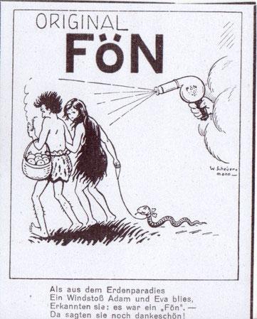Original Fön. Vertreibung von Adam und Eva aus dem Paradies. Humorvolle Werbung vor 1927 von W. Scheuermann.