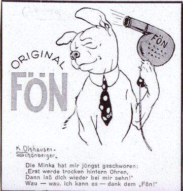 Original Fön. Boxer (Hund) fönt sich das Haar. Humorvolle Werbung von K. Olshausen-Schöneberger vor 1927.