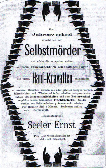 Humorvolle (sarkastische) Werbung vor 1900. Krawatten für Selbstmörder. Inserat in Zeitung.