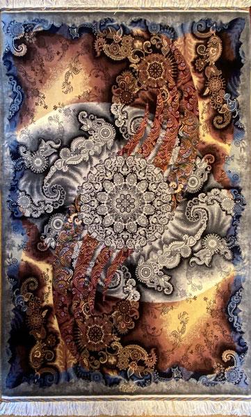 QUM silk ザロニムサイズ 約150x100 銀河をイメージしたデザインです。毛足が長く、ふかふかです。