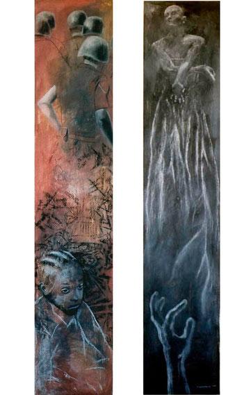 Roto y Ritual  2003 pastel 180X38 cm