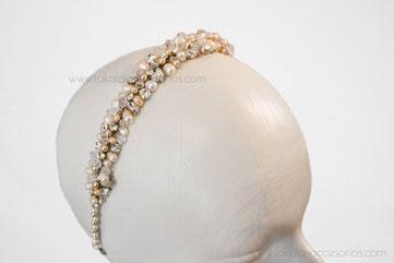 vincha novia, vincha perlas, tocado perlas, tocado novia.