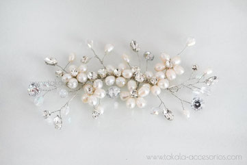 Tocado de novia, aplique de novia, tocado de perlas