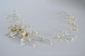 vincha de novia, vincha bordada, tocado novia, vincha perlas