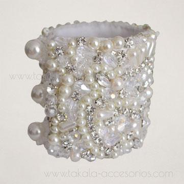 brazalete bordado, brazalete de novia, brazalete, pulsera de novia, pulsera bordada, brazalete perlas, brazalete cristales, brazalete strass, brazalete fiesta, pulsera noche, brazalete plateado