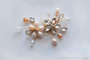 Tocado de novia, aplique de novia, tocado de perlas, horquilla de novia