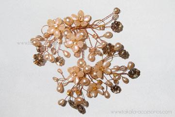horquillas de novia, tocado de novia, apliques de perlas, perlas,