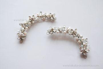 horquillas de novia, tocado de novia, apliques de perlas,