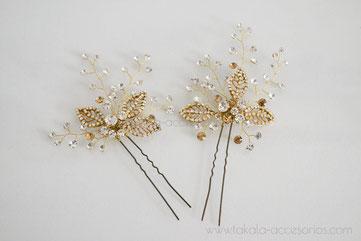 tocado de novia, aplique de novia, horquilla de perlas, cristales, tocado ramitas.