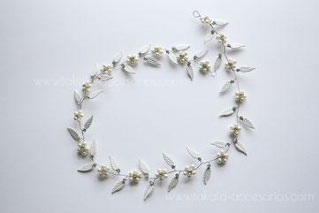 vincha novia, tocado novia, vincha hojas, vincha griega, vincha romana, plateado, dorado, vincha perlas.
