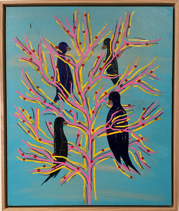 """""""Morning Gossips"""" 54cm x 64cm Acrylic on Canvas Oak frame $350 (excluding freight)"""