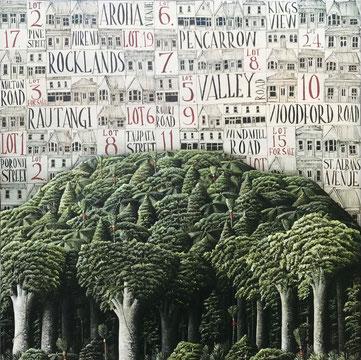 'Mount Eden' 71 x 71 cm, Oil on canvas, 2020 SOLD