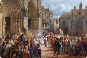 Saint Louis portant la Sainte Couronne à Notre-Dame de Paris le 19 août 1239. Gravure par Jules David (1860). Colorisation par Jérôme Dumoux (2012). © NDP