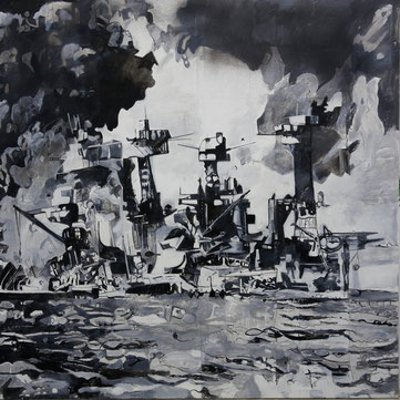 """Pearl Harbor"", acrylic / oil on canvas, 180 x 180 cm, 1997"