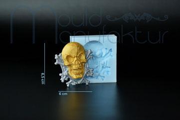 MouldManufaktur Silikonform Mould Fondant Totenkopf Totenkopfrand Knochen Geist Kürbis