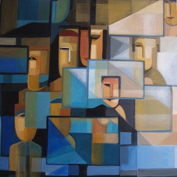 Im Netz, Acryl auf Leinwand, 80x80 cm, 2016