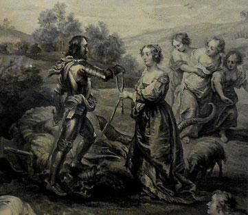 Paysage avec Saint Georges, Jean-Charles Le Vasseur, détail d'une gravure d'après Rubens / musée d'Abbeville