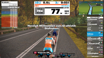 iQ athletik Leistungsdiagnostik auf Zwift