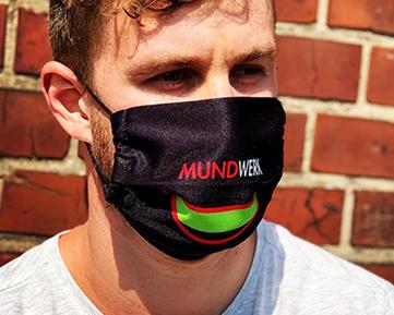 Behelfs-Mundschutz, MNS-Maske, Mund-Nasen-Maske mit eigenem Logo oder Muster von Feld Textil GmbH in Krefeld