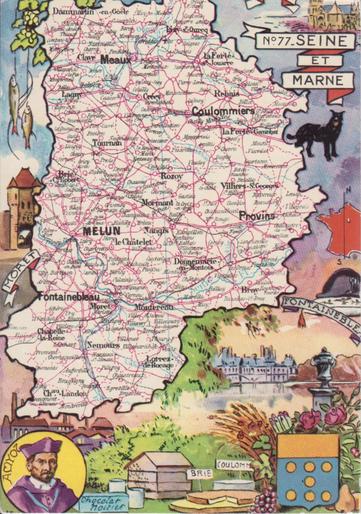 Recto d'une carte postale timbrée au dos envoyée depuis la Seine-et-Marne