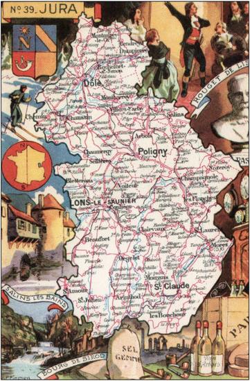 Recto d'une carte postale timbrée envoyée depuis le Jura