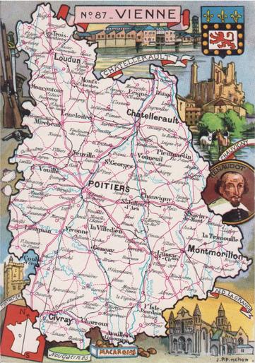 Recto d'une carte postale timbrée au dos envoyée depuis la Vienne