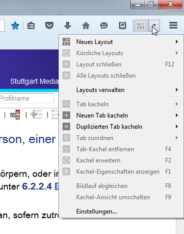 "Das ""Tile Tabs""-Menü (oben rechts im Firefox)"