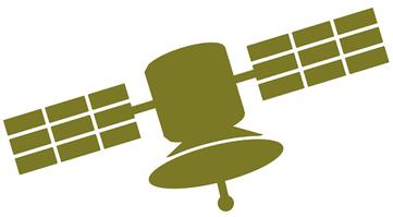 Illustration eines grünen Satelliten als Symbol für «Netzwerk von Destnatorum».