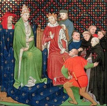 Clément V et Philippe IV lors du procès