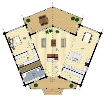 Blockhäuser - Erlesene Holzhäuser in massiver Blockbauweise - Grundrissplanung Exclusives Designhaus in massiver Blockbauweise in vielen Variationen und Größen