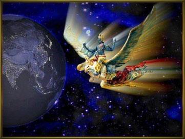 Shree Vishnu auf Garuda