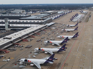 More are to come but who'll fly them? Lineup of FedEx freighters in Memphis  -  company courtesy