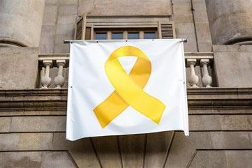 Желтая лента возвращается на балкон Мэрии Барселоны