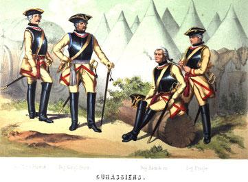 Königlich Sächsische Kürassiere im Zeithainer Lustlager 1730 in ihren neuen Uniformen