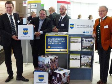 Pfaffenhofen auf Expo Real 2012 in München - Thomas Herker, Markus Käser, Matthias Scholz, Hans Baierl