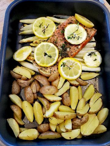 Zitronenlachs - Thymian - Spargel - Ofenkartoffeln